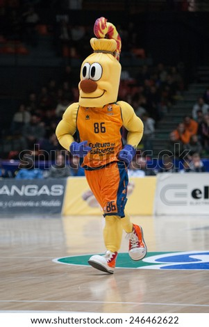 VALENCIA, SPAIN - JANUARY 21: Valencia Team mascot during Eurocup match between Valencia Basket Club and CSU Asesoft at Fonteta Stadium on January 21, 2015 in Valencia, Spain - stock photo