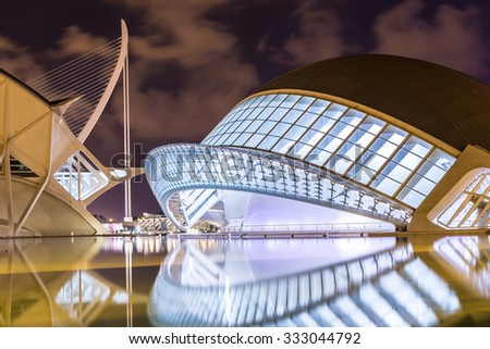 VALENCIA, SPAIN - JULY 22: City of arts and sciences designed by Santiago Calatrava architect in Valencia on July 22, 2014 in Valencia, Spain - stock photo