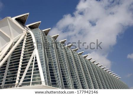 VALENCIA, SPAIN - JULY 20: Modern buildings in the Ciudad de las Artes y Sciences in Valencia, The architect of these buildings is Santiago Calatrava July 20, 2010 in Valencia, Spain - stock photo