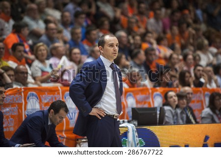 VALENCIA, SPAIN - June 11: Carles Duran during SEMI FINAL ENDESA LEAGUE match between Valencia Basket Club and Real Madrid Basket at Fonteta Stadium on June 11, 2015 in Valencia, Spain
