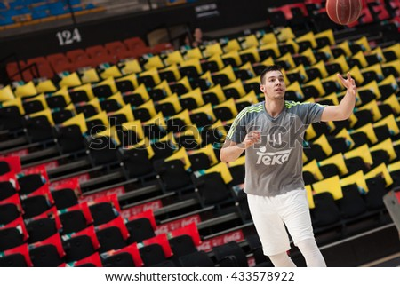 VALENCIA, SPAIN - JUNE 7th: Hernangomez during 3rd playoff match between Valencia Basket and Real Madrid at Fonteta Stadium on June 7, 2016 in Valencia, Spain - stock photo