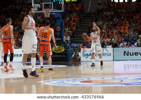 VALENCIA, SPAIN - JUNE 7th: Sergio Llull with ball during 3rd playoff match between Valencia Basket and Real Madrid at Fonteta Stadium on June 7, 2016 in Valencia, Spain - stock photo