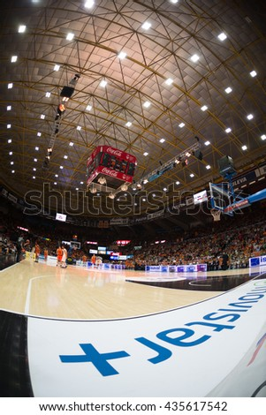 VALENCIA, SPAIN - JUNE 9th: Stadium during 4th playoff match between Valencia Basket and Real Madrid at Fonteta Stadium on June 9, 2016 in Valencia, Spain - stock photo