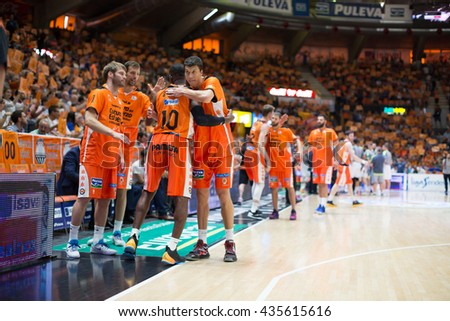 VALENCIA, SPAIN - JUNE 9th: Valencia players during 4th playoff match between Valencia Basket and Real Madrid at Fonteta Stadium on June 9, 2016 in Valencia, Spain - stock photo