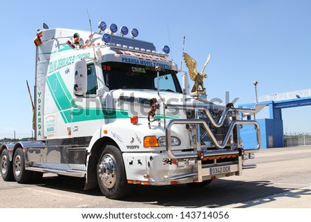 "VALENCIA, SPAIN - JUNE 22: Unidentified truck at the Motorexpo car show in the ""The Maximum Parade"" on Jun 22, 2013, Cheste Circuit in Valencia, Spain - stock photo"