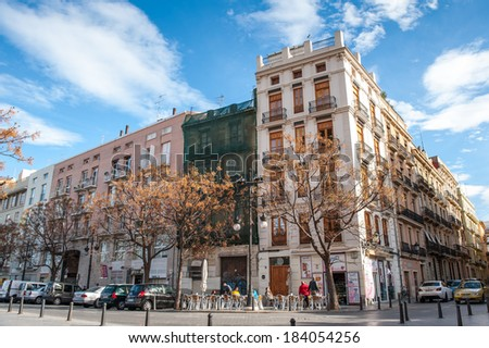 VALENCIA, SPAIN - MAR 24, 2014: Plaza del Furs, of Valencia, Spain. Valencia was found in 138 BC, and now it's the third largest city in Spain