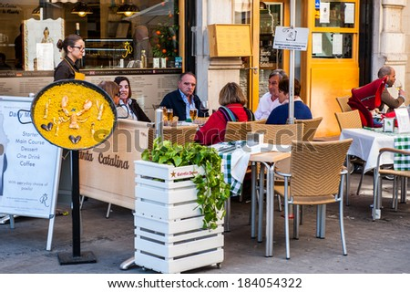 VALENCIA, SPAIN - MAR 24, 2014: Typical cafe of the historic centre of Valencia, Spain. Valencia was found in 138 BC, and now it's the third largest city in Spain - stock photo