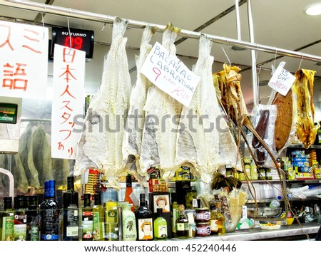 Valencia, Spain - March 20, 2014. Dried and salted cod in a stall of a european market. - stock photo
