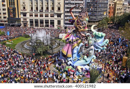 VALENCIA, SPAIN - MARCH 19: Las Fallas, papermache models are displayed during traditional celebration in praise of St Joseph on March 19, 2007, in Valencia, Spain. Celebration happens every year. - stock photo