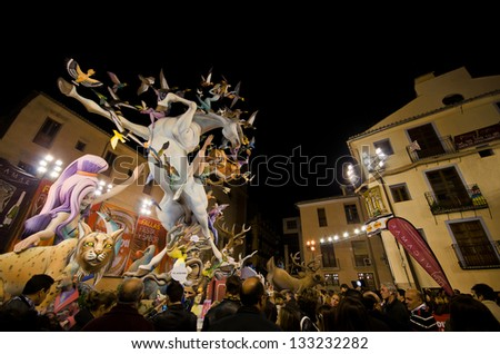 VALENCIA, SPAIN - MARCH 18: The Fallas is a traditional celebration in which hundreds of papier mache sculptures are eventually burnt on Saint Joseph's night, March 18, 2013 in Valencia, Spain