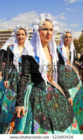 VALENCIA, SPAIN - MARCH 19: Unknown woman Fallas celebration, one of the biggest parties in Spain a traditional celebration for Saint Joseph on March 19, 2007 in Valencia, Spain - stock photo