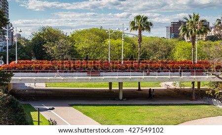 VALENCIA, SPAIN - MAY 14, 2016: Different views of the city of Valencia, Spain, in the area of the Turia Gardens, May 14, 2016 in Valencia, Spain - stock photo