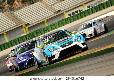 VALENCIA, SPAIN - MAY 2: Italian driver Andrea Belicchi races in a Seat Leon Cup Racer in the TCR International Series, at Ricardo Tormo's Circuit, on May 2, 2015 in Cheste, Spain. - stock photo