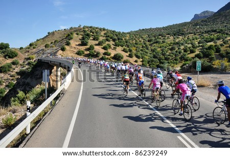 VALENCIA, SPAIN - MAY 29: Riders participate in the XI City of Valencia Cycling Event on May 29, 2010 in Valencia, Spain. - stock photo