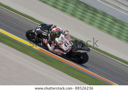VALENCIA, SPAIN - NOVEMBER 9: Ben Spies in the official motogp test with new 1.000cc engines, Ricardo Tormo Circuit of Cheste, Spain on november 9, 2011