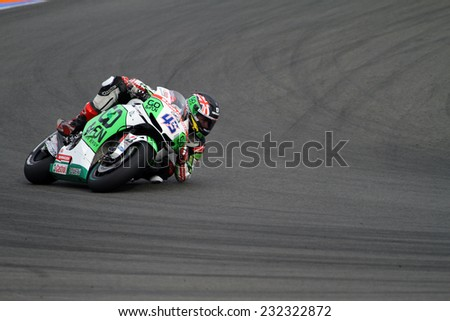 VALENCIA - SPAIN, NOVEMBER 9: British Honda rider Scott Redding at 2014 Generali MotoGP of Valencia on November 9, 2014 - stock photo