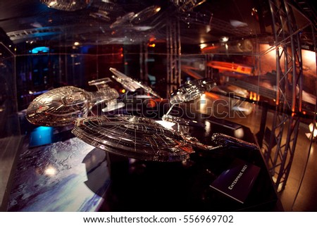 VALENCIA, SPAIN - NOVEMBER 9, 2010: Exhibition of the history of Star trek, small model of the spaceship from the TV series