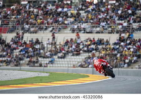 VALENCIA, SPAIN - NOVEMBER 6: MotoGP  Comunitat Valenciana - Casey Stoner - on November 6, 2009 in Valencia, Spain - stock photo