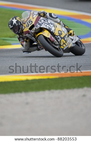 VALENCIA, SPAIN - NOVEMBER 5: Scott Redding in motogp Grand Prix of the Comunitat Valenciana, Ricardo Tormo Circuit of Cheste, Spain on november 5, 2011