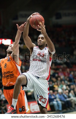 VALENCIA, SPAIN - NOVEMBER 18th: Kitchen with ball during Eurocup between Valencia Basket Club and Sluc Nancy at Fonteta Stadium on November 18, 2015 in Valencia, Spain - stock photo