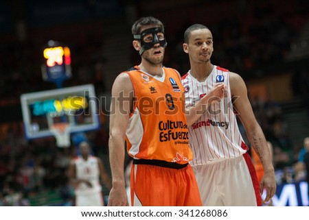 VALENCIA, SPAIN - NOVEMBER 18th: (9) Van Rossom (R) Sene during Eurocup between Valencia Basket Club and Sluc Nancy at Fonteta Stadium on November 18, 2015 in Valencia, Spain - stock photo