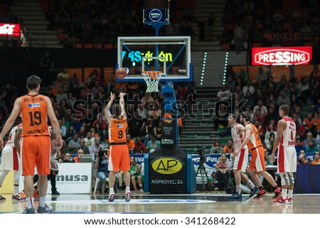 VALENCIA, SPAIN - NOVEMBER 18th: Various players during Eurocup between Valencia Basket Club and Sluc Nancy at Fonteta Stadium on November 18, 2015 in Valencia, Spain - stock photo