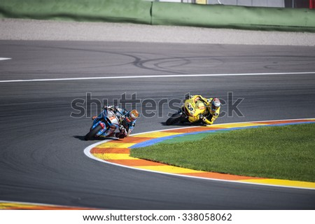 VALENCIA, SPAIN - NOVEMBER 8: Tito Rabat, Alex Rins during Valencia MotoGP 2015 at Ricardo Tormo Circuit on November 8, 2015 in Valencia, Spain