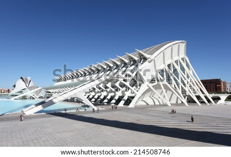 VALENCIA, SPAIN - OCT 9: City of Arts and Sciences in Valencia. October 9, 2011 in Valencia, Spain - stock photo