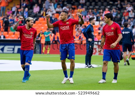 VALENCIA, SPAIN - OCT 22: Neymar (c), Messi (l) and Suarez (r) at the La Liga match between Valencia CF and FC Barcelona at Mestalla on October 22, 2016 in Valencia, Spain.