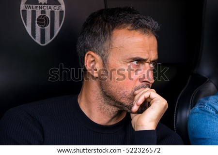 VALENCIA, SPAIN - OCT 22: The coach Luis Enrique at the La Liga match between Valencia CF and FC Barcelona at Mestalla on October 22, 2016 in Valencia, Spain.