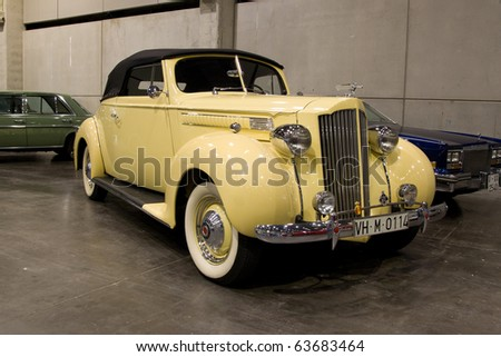 VALENCIA, SPAIN - OCTOBER 22: A 1939 Packard 1700 Six Cabriolet is on display at the 2010 Motor Epoca Classic Car Show on October 22, 2010 in Valencia, Spain. - stock photo