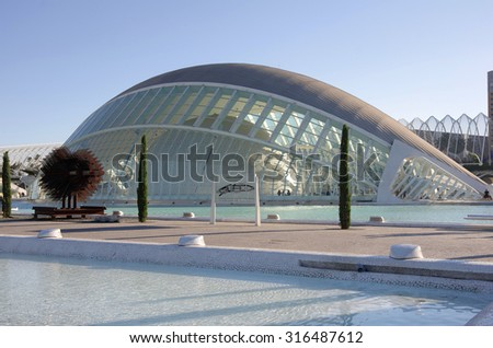VALENCIA, SPAIN - OCTOBER 07, 2014: L'Hemisferic, a IMAX 3D-cinema, planetarium and laserium in the City of Arts and Sciences (Ciudad de las artes y las ciencias) in Valencia, Spain - stock photo