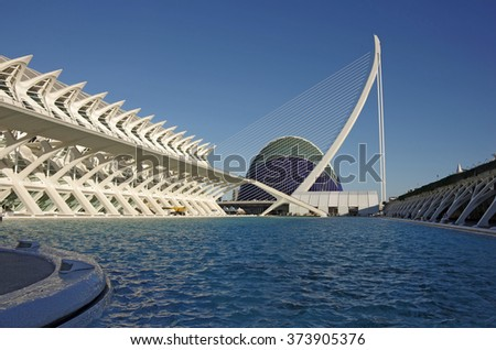 VALENCIA, SPAIN - OCTOBER 07, 2014: Prince Philip Science Museum and Agora in the City of Arts and Sciences (Ciudad de las artes y las ciencias) in Valencia, Spain - stock photo