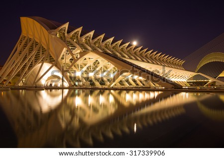 VALENCIA, SPAIN - OCTOBER 07, 2014: Prince Philip Science Museum in the City of Arts and Sciences (Ciudad de las artes y las ciencias) in Valencia, Spain - stock photo