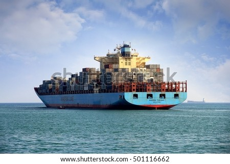 VALENCIA, SPAIN - october 02. Stern view of the big container ship MAERSK TUKANG leaving the  port of Valencia, on October 02, 2016 in Valencia.