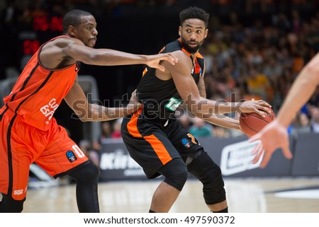 VALENCIA, SPAIN - OCTOBER 12th: Butler with ball during Eurocup match between Valencia Basket and Ratiopharm Ulm at Fonteta Stadium on October 12, 2016 in Valencia, Spain