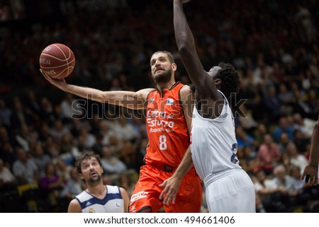 VALENCIA, SPAIN - OCTOBER 6th: Diot with ball during spanish league match between Valencia Basket and Real Madrid at Fonteta Stadium on October 6, 2016 in Valencia, Spain