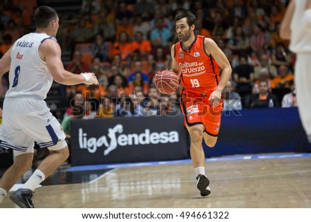 VALENCIA, SPAIN - OCTOBER 6th: San emeterio with ball during spanish league match between Valencia Basket and Real Madrid at Fonteta Stadium on October 6, 2016 in Valencia, Spain