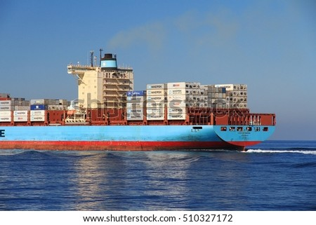 VALENCIA, SPAIN â?? OCTOBER 15: The container ship GUNHILDE MAERSK with 366 meters length after leaving the port of Valencia is sailing in open waters, on October 15, 2016 in Valencia.
