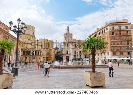 VALENCIA, SPAIN - SEPT 10: Square of Saint Mary's and fountain Rio Turia. Every year,Valencia(third size population  city in Spain)welcomes more than 4 million visitors.   - stock photo