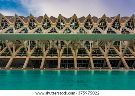 VALENCIA, SPAIN - SEPTEMBER 26, 2015: huge buildings of City of Art and Science Museum.View on Valencian Institute of Modern Art - stock photo