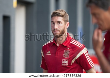 Valencia, Spain, September 8, 2014: Sergio Ramos during EURO 2016 Group C European Qualifiers game between Spain and FYR Macedonia at Estadio Ciutat de Valencia on September 8, 2014 in Valencia, Spain - stock photo