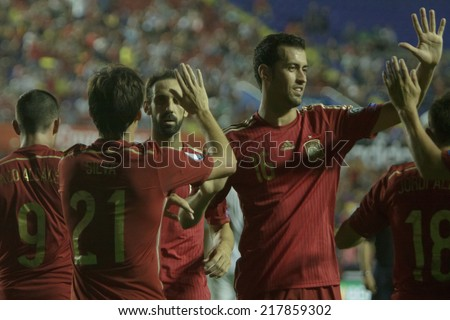 Valencia, Spain, September 8, 2014: Spain players celebrate a goal during EURO 2016 Qualifiers game between Spain and Macedonia at Estadio Ciutat de Valencia on September 8, 2014 in Valencia, Spain - stock photo