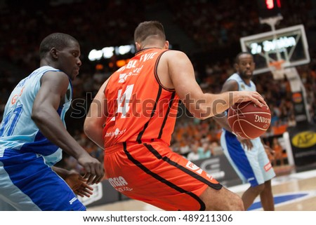 VALENCIA, SPAIN - SEPTEMBER 25th: Dubljevic with ball and Savane during match between Valencia Basket and Estudiantes at Fonteta Stadium on September 25, 2016 in Valencia, Spain