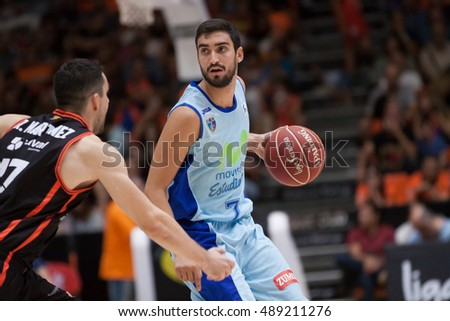 VALENCIA, SPAIN - SEPTEMBER 25th: Fernandez with ball during match between Valencia Basket and Estudiantes at Fonteta Stadium on September 25, 2016 in Valencia, Spain