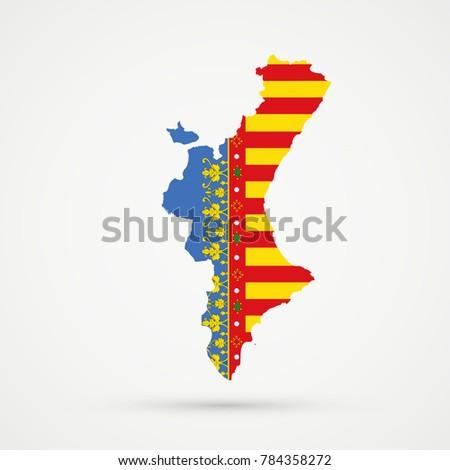 Valencian Community Spain Map Valencian Community Stock Illustration ...