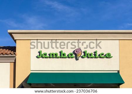 VALENICA, CA/USA - DECEMBER 8, 2014: Jamba Juice Restauraut exterior. Jamba Juice Company is a restaurant retailer headquartered in Emeryville, California with over 800 locations. - stock photo