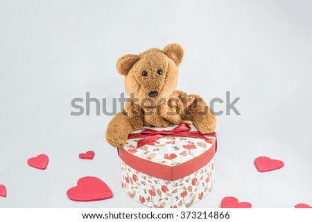 Valentine and  heart Gift box / Black and White with  a Teddy Bear  Isolate on white background