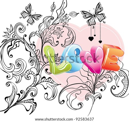 Valentine background with floral ornament and love over white