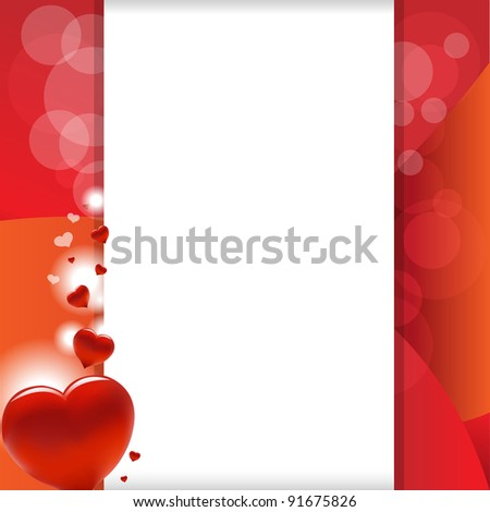 Valentine Background With Heart And Paper - stock photo